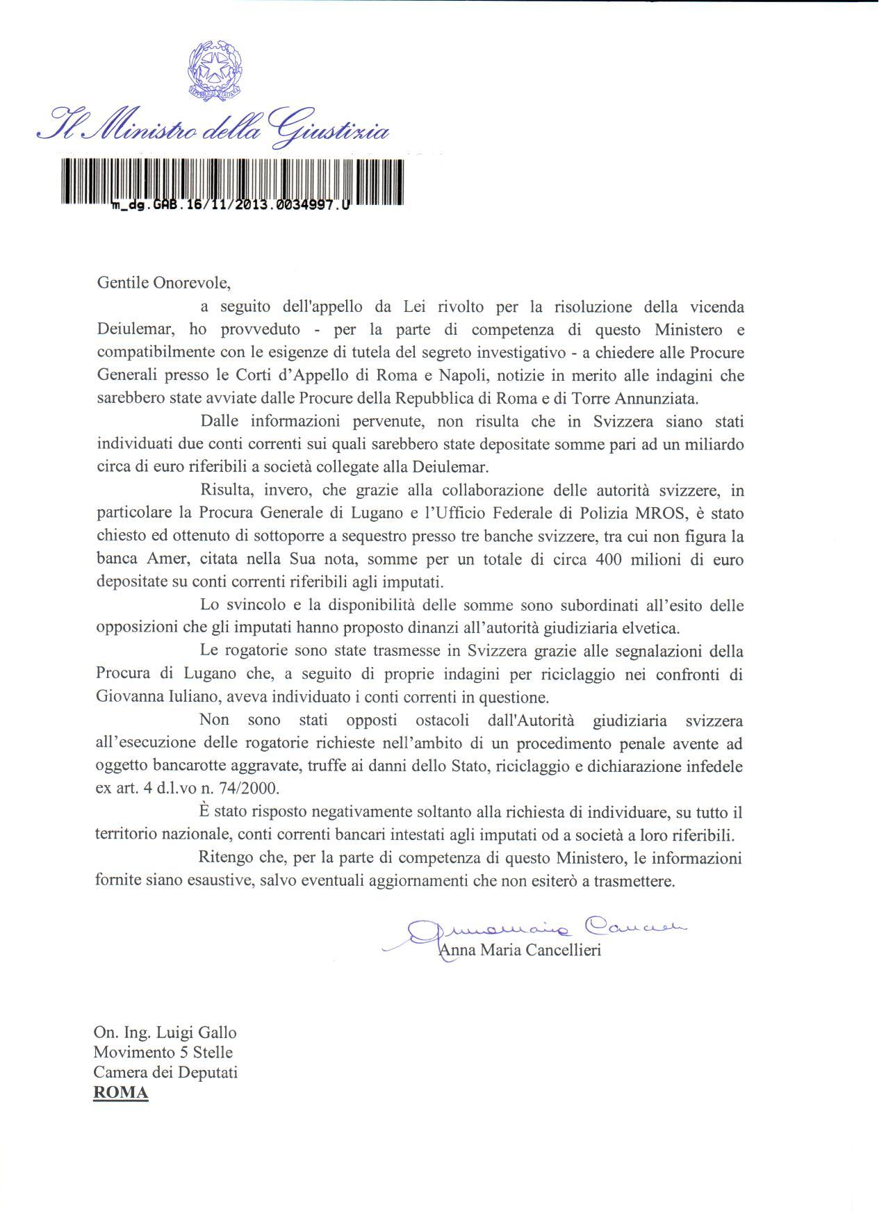2013_11_19 risposta Cancellieri