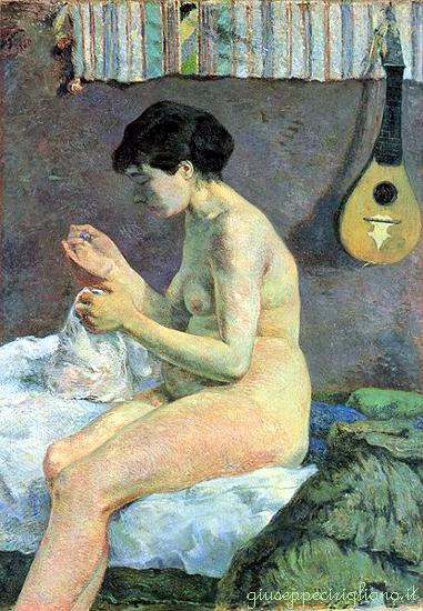 arte_gauguin_1_-_Nudo_di_donna_che_cuce_-_1880
