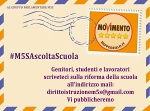 #M5SAscoltaScuola Genitori, studenti e lavoratori…. scriveteci!