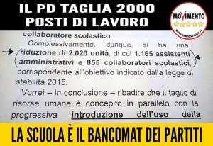 LA SCUOLA DIVENTA IL BANCOMAT DEI PARTITI: IL PD TAGLIA 2000 POSTI DI LAVORO!