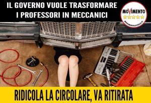 SCUOLA, IL GOVERNO VUOLE TRASFORMARE I PROFESSORI IN MECCANICI!