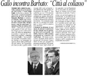 L'INCONTRO CON IL COMMISSARIO BARBATO: TORRE DEL GRECO CITTA' AL COLLASSO