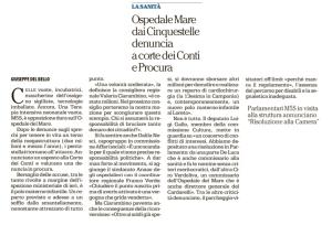 OSPEDALE DEL MARE, M5S: ESPOSTO ALLA CORTE DEI CONTI SU SMANTELLAMENTO POLO MATERNO INFANTILE