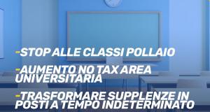 Stop Classi Pollaio, ampliamento no tax area universitaria e decreto dignità per la scuola